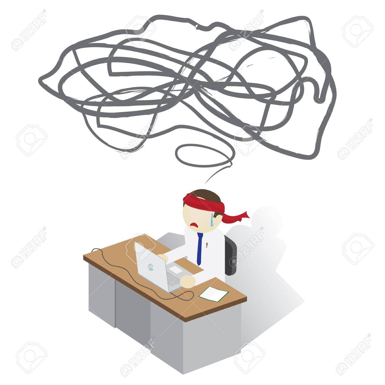 Frustrated Man on a desk having a Trouble Stock Vector - 17041962
