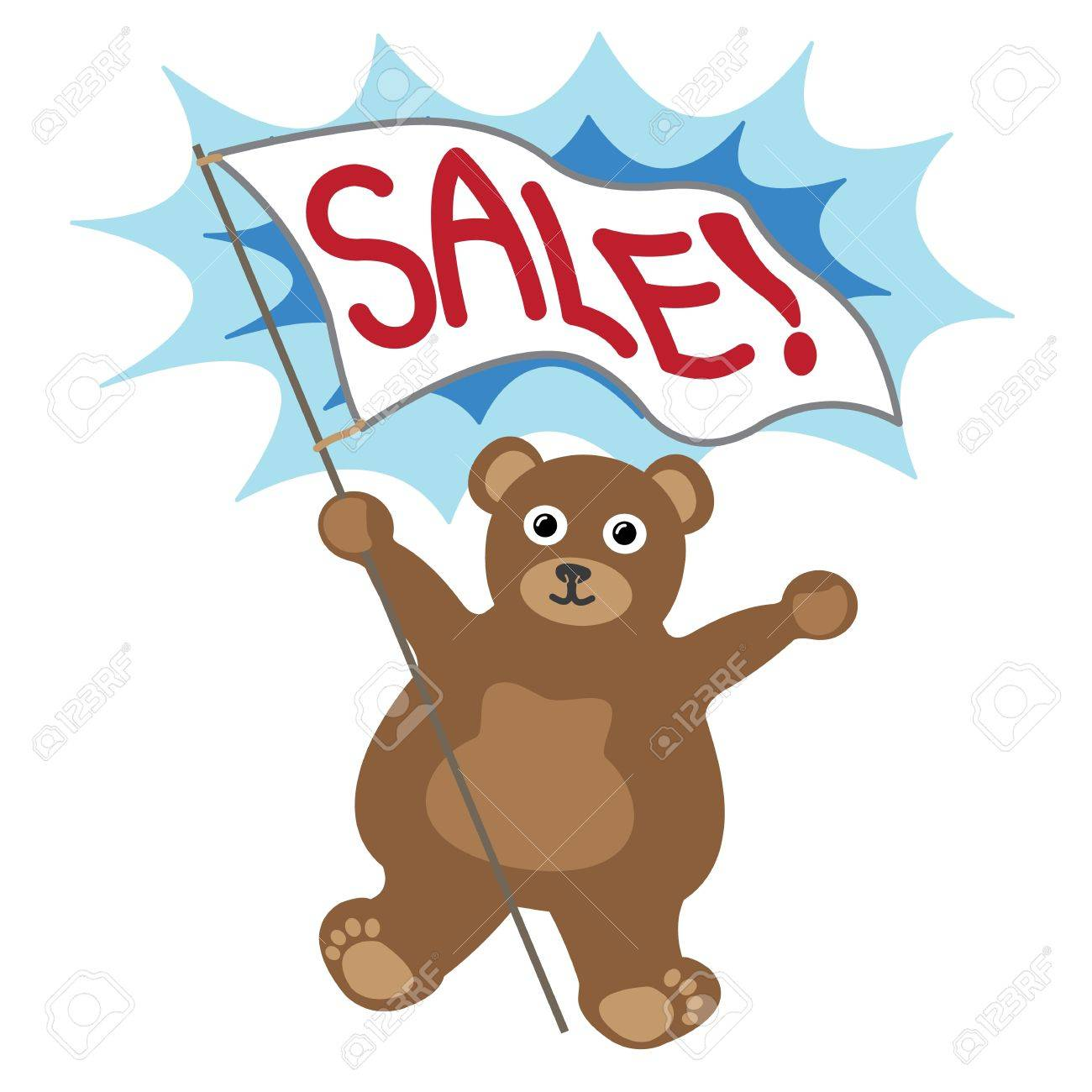 Cartoon little bear with white banner text sale Stock Vector - 17084113