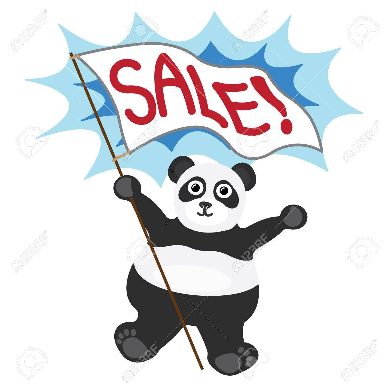 Cartoon little panda with white banner text sale Stock Vector - 17084105