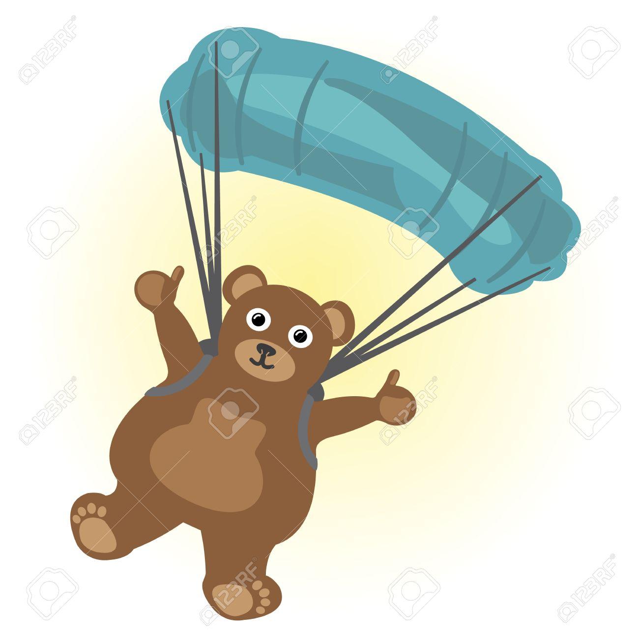 Cartoon little bear parachute jumping Stock Vector - 17084117