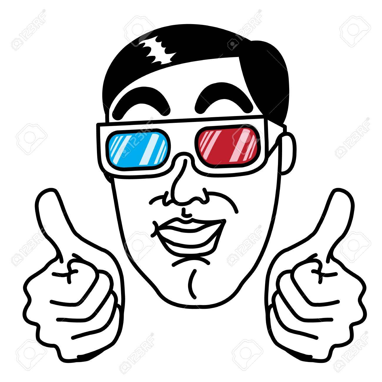 Man enjoy with 3d glasses Stock Vector - 17162077