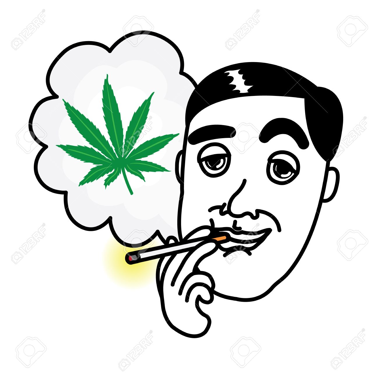 Man Smoking Cannabis Cigarette Royalty Free Cliparts Vectors And