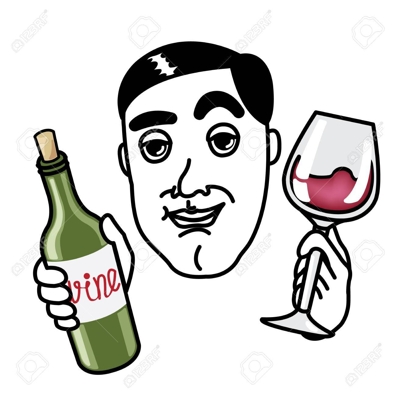 Man with wine glass and bottle Stock Vector - 17162085