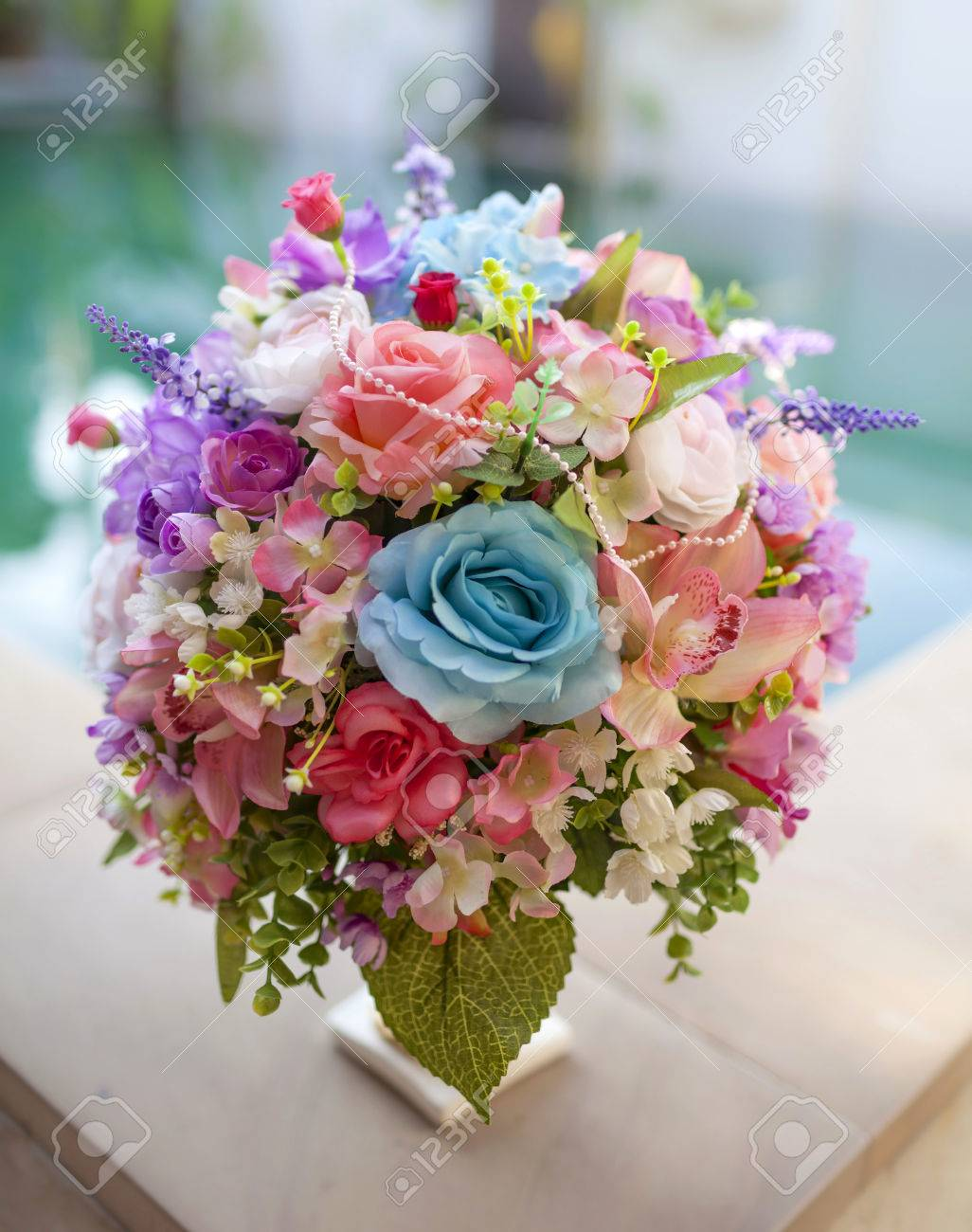 Beautiful Pink And Blue Flower Bouquet With Swimming Pool Background ...