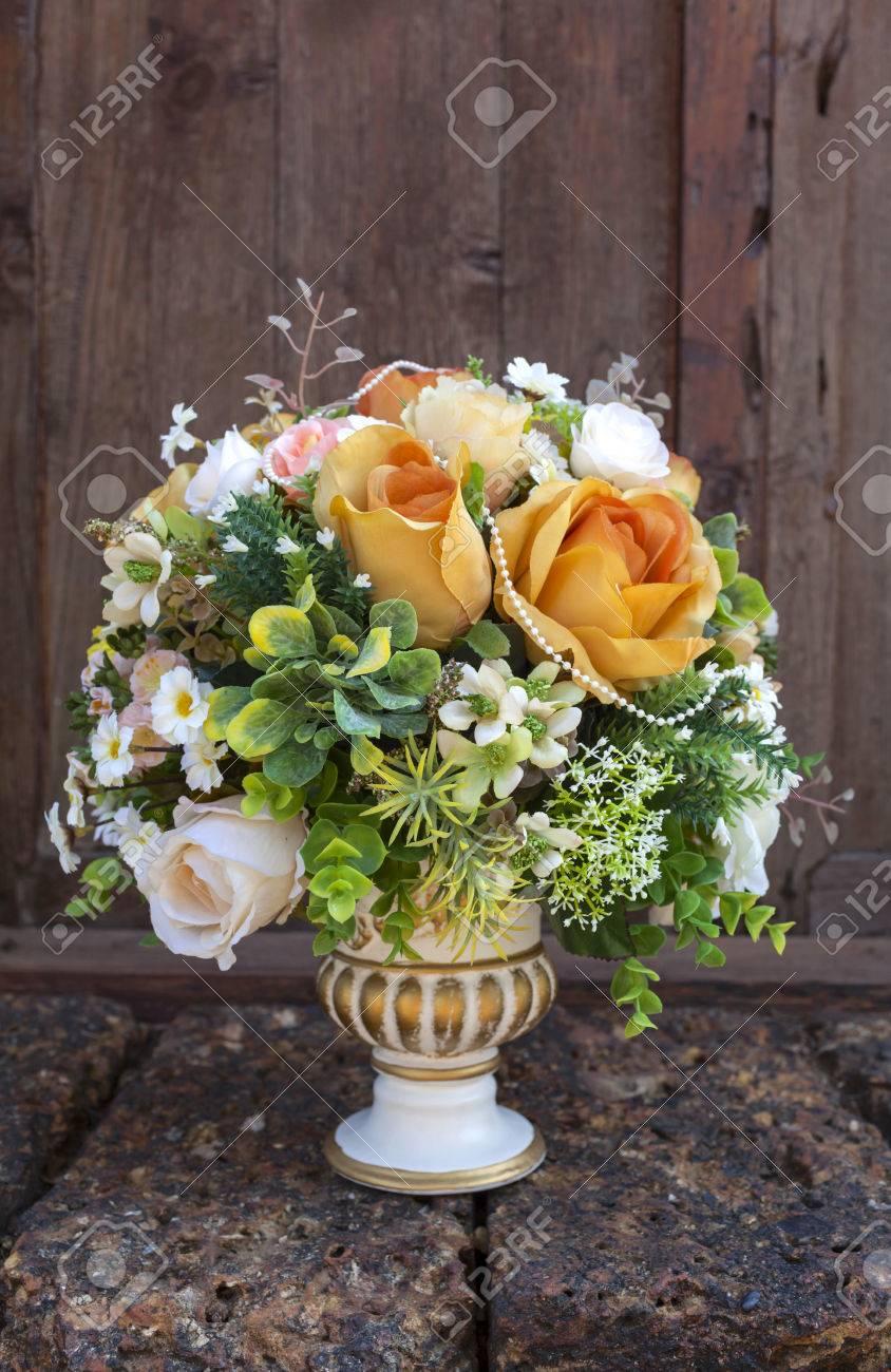 Beautiful Flower Arrangement Orange And Green Set In Roman Style