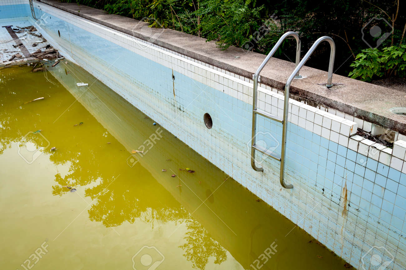 Dirty Water In Old Concrete Swimming Pool Stock Photo, Picture And ...