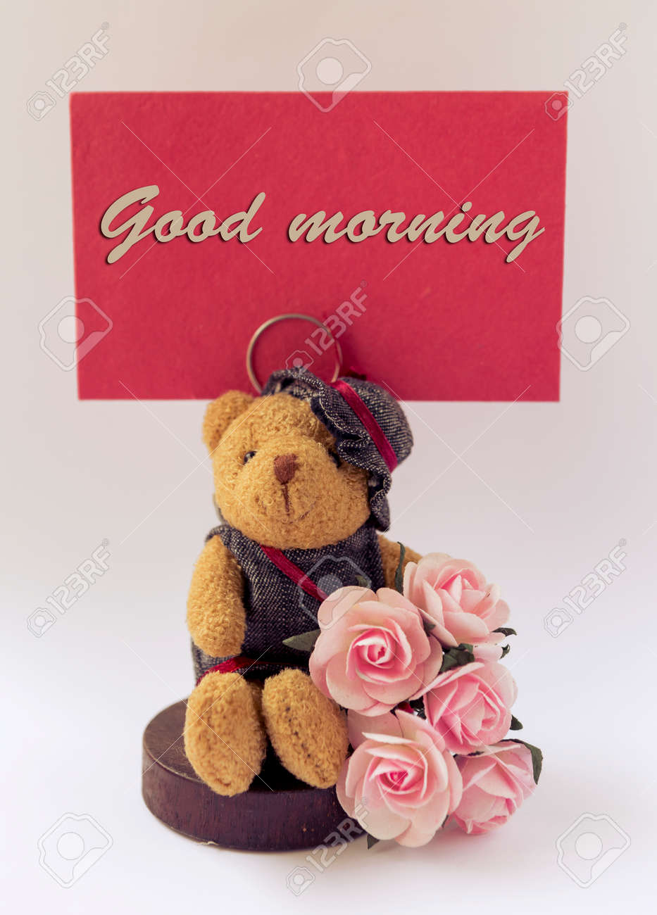 Good Morning Card With Teddy Bear And Rose Stock Photo Picture And