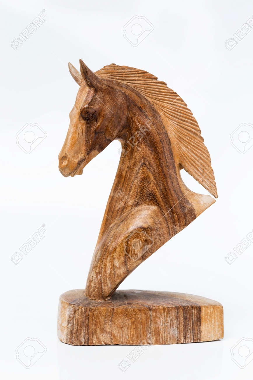 Wooden Horse Head Statute On White Background Stock Photo Picture And Royalty Free Image Image 65587307