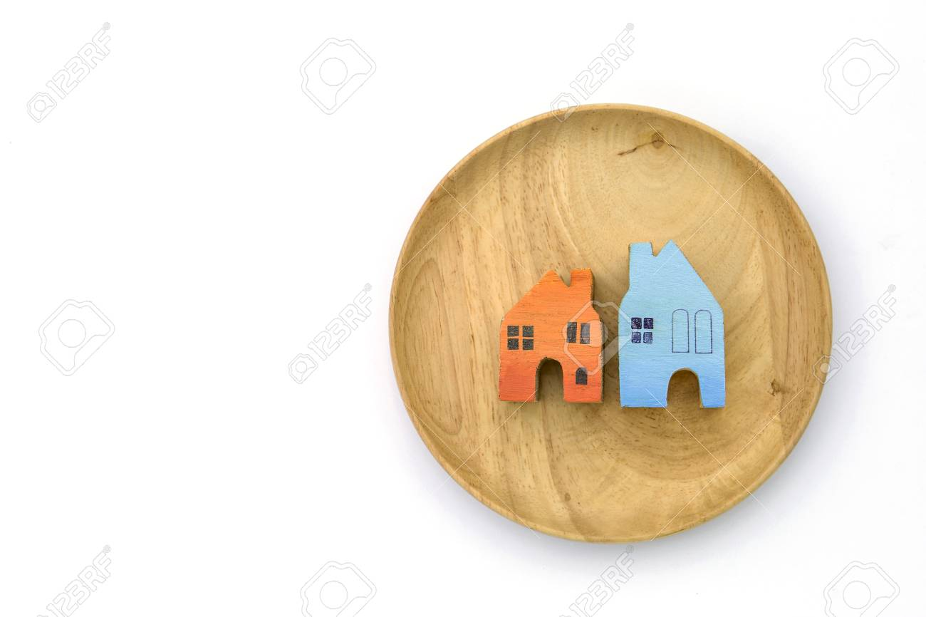 Wooden Miniature House Design On Round Wooden Serving Tray On Stock Photo Picture And Royalty Free Image Image 78471786