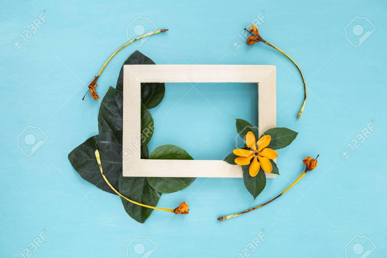 Marco De Madera Decorar Con Hoja Verde Y Flor Amarilla Sobre Fondo Azul