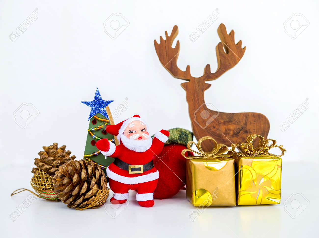 Christmas Tree Decoration Items On White Background Santa Claus
