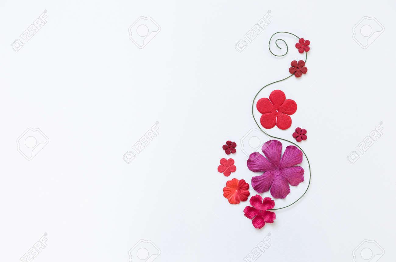Beautiful paper flower arrangement on white paper texture background beautiful paper flower arrangement on white paper texture background flower card background stock photo mightylinksfo