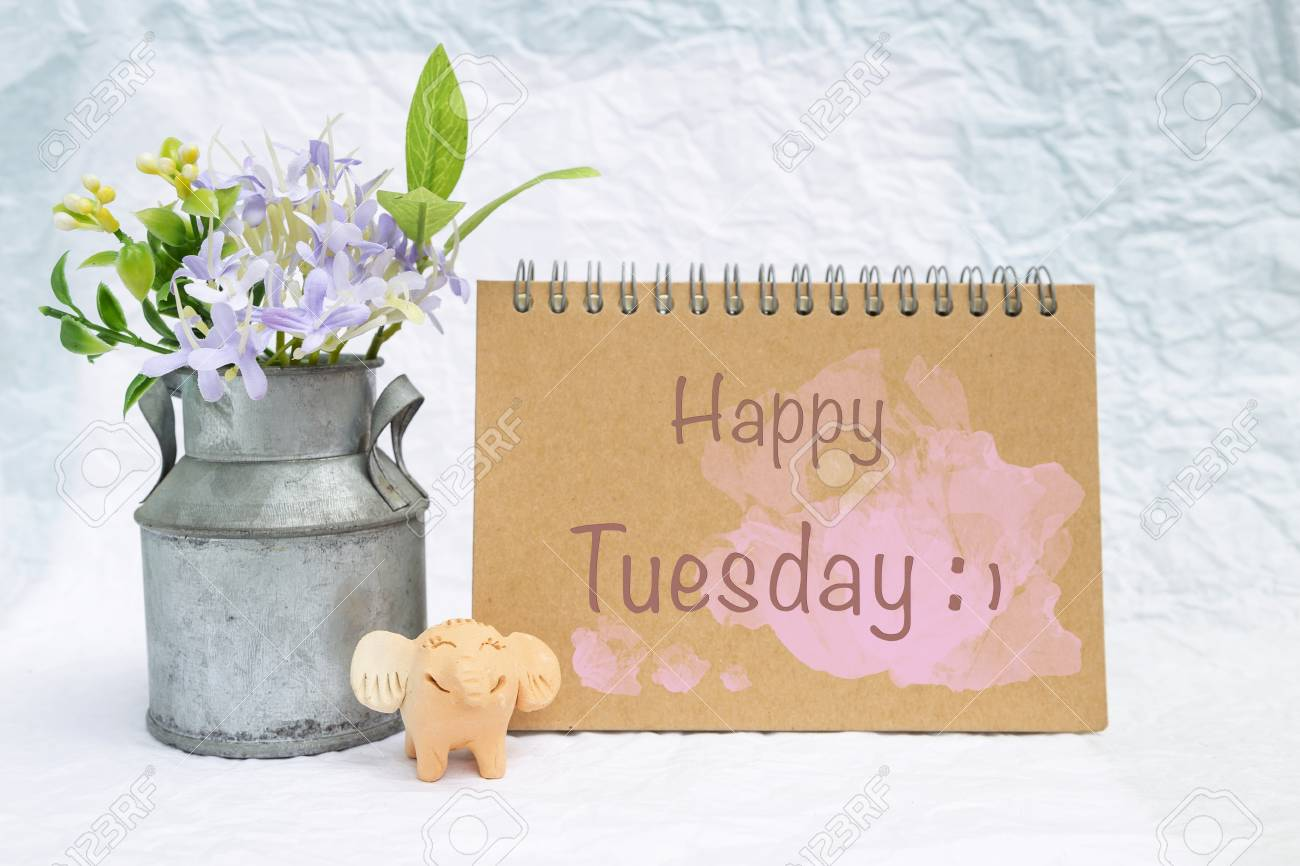 Happy Tuesday Card With Smiling Little Elephant Clay Doll And