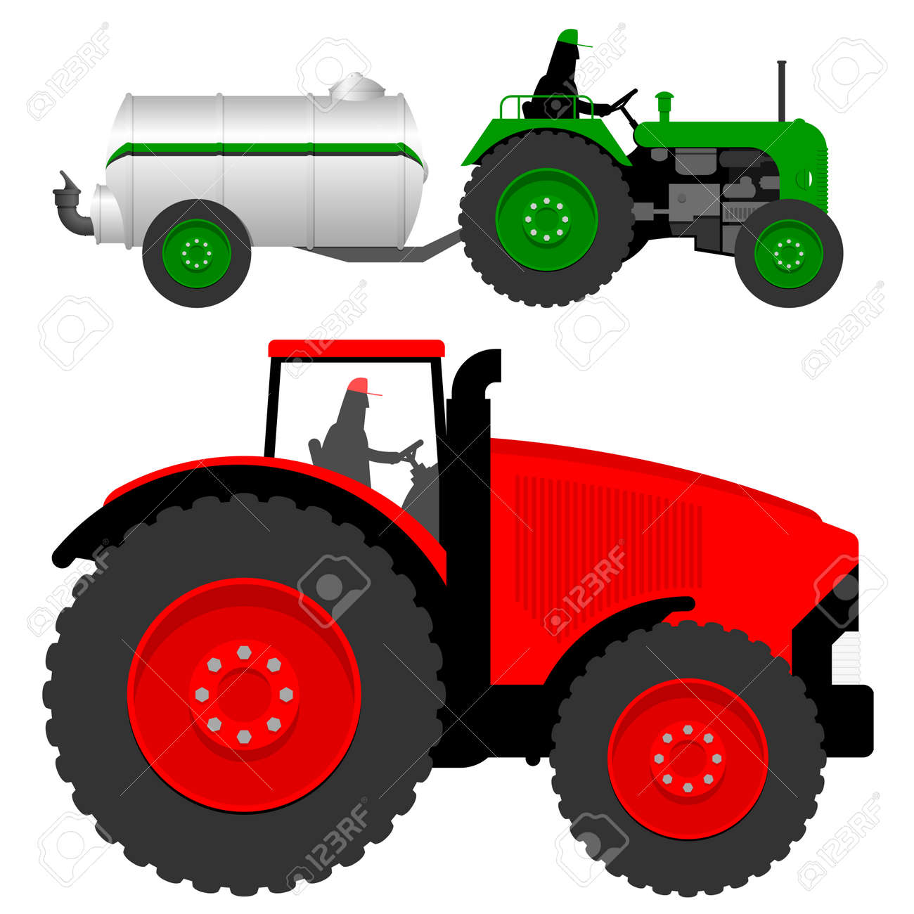 Two tractors with liquid manure tanker Stock Vector - 4479458