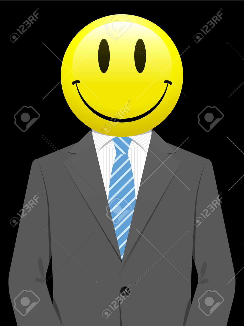 Business man with yellow smiley face Stock Vector - 4769043
