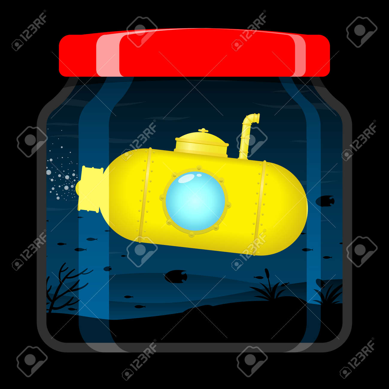 Yellow submarine in preserving jar Stock Vector - 5187570