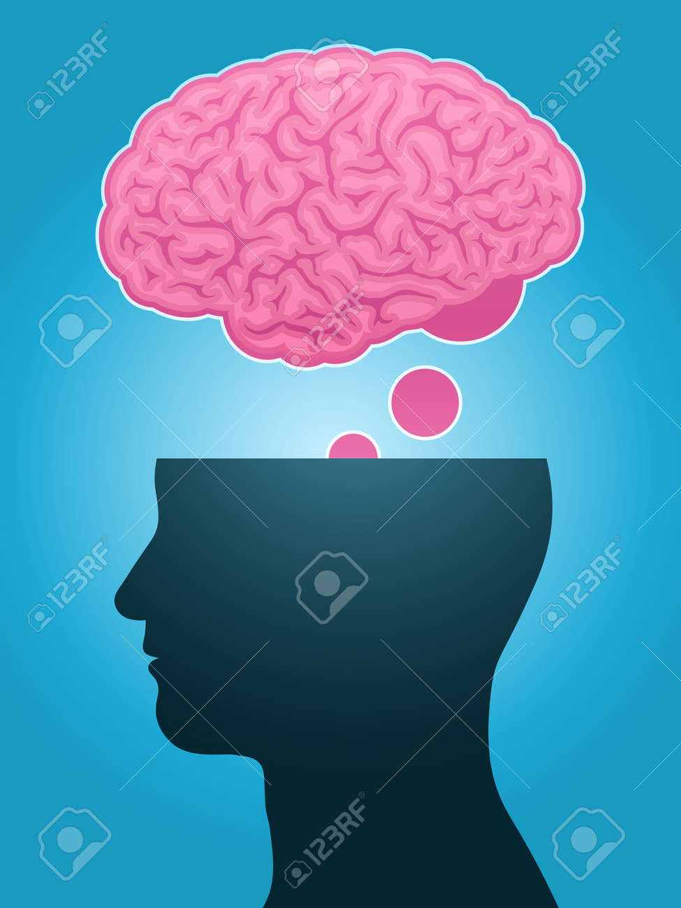 head silhouette brain thought Stock Vector - 8620569