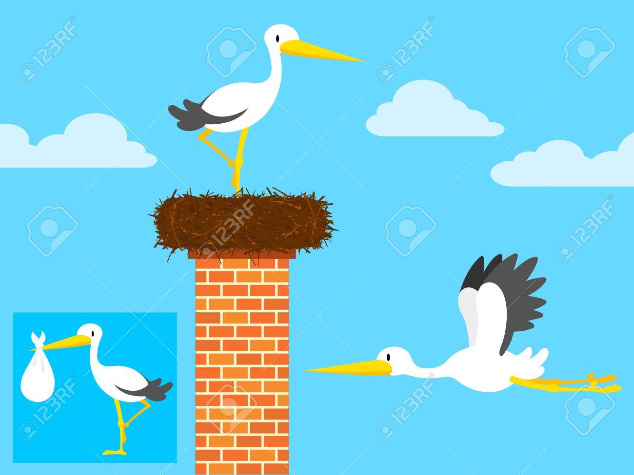cartoon stork in nest on chimney and flying Stock Vector - 10028016