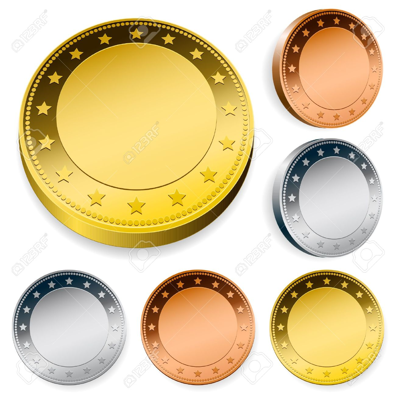 blank shiny token coins set with copy space Stock Vector - 10028096