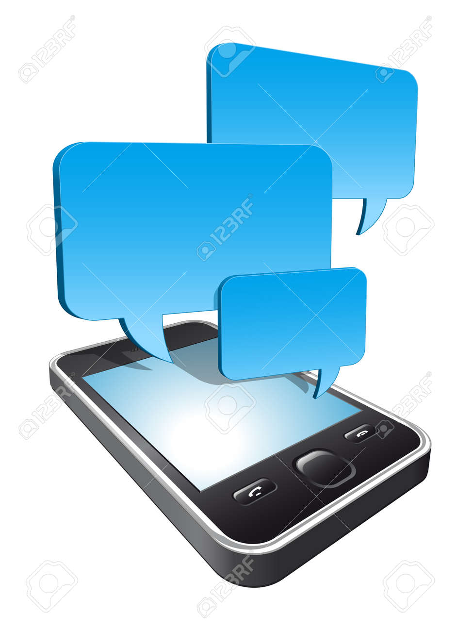 3d smartphone with speech bubbles hovering Stock Vector - 11077527