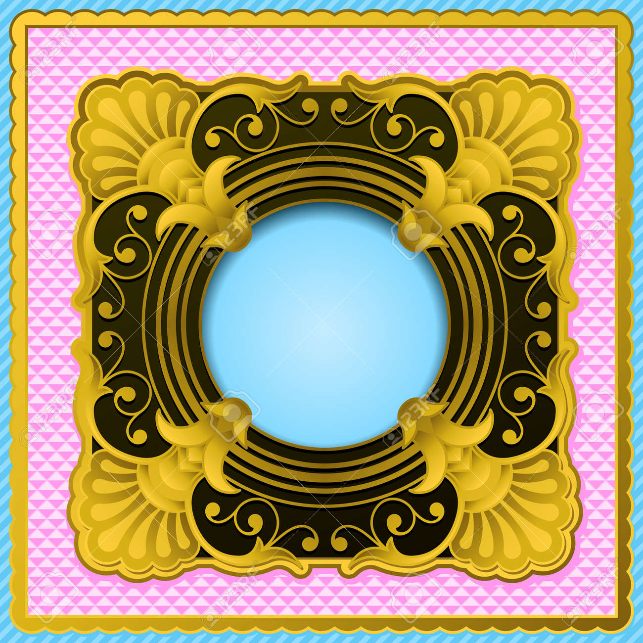 Ornate antique gold and black frame on a pink border with a ornate antique gold and black frame on a pink border with a central circular blue copyspace jeuxipadfo Image collections