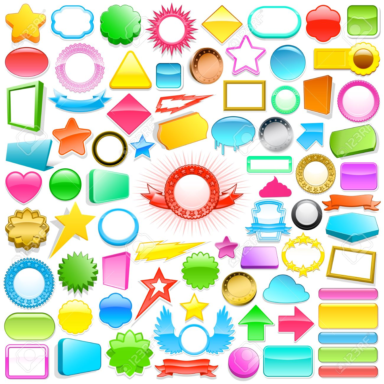 Huge collection of colourful 3d labels and buttons in different shapes, colours and sizes for use in gifts, print, internet and commercial with blank copyspace for text Stock Photo - 14893715