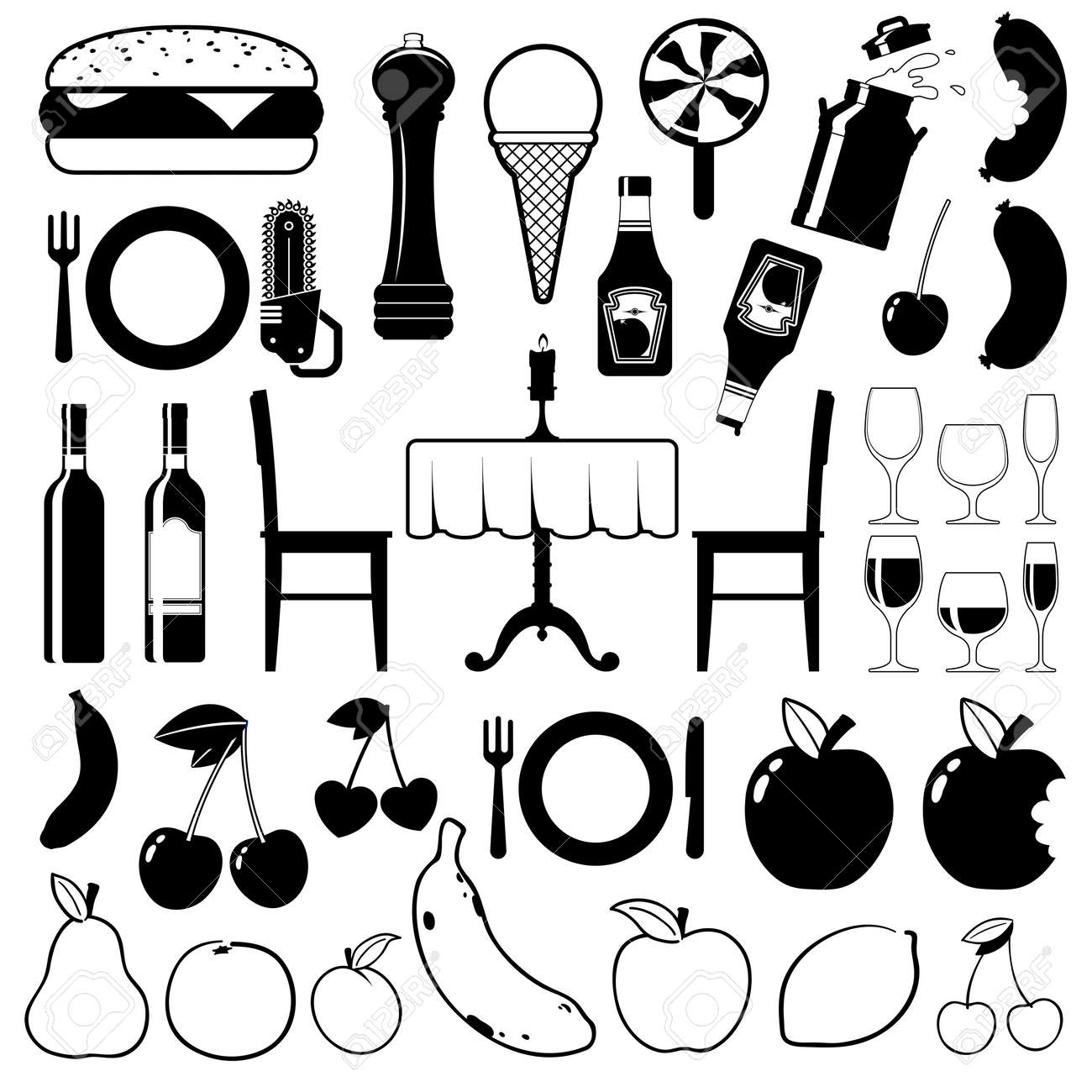 Collection of food icons with fast food, fruit, dining table, wine and beverages, vector illustrations Stock Photo - 16650250