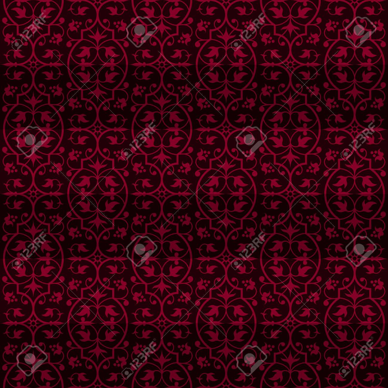 Ornement Rouge Fonce De Conception Papier Peint Vintage Carreaux