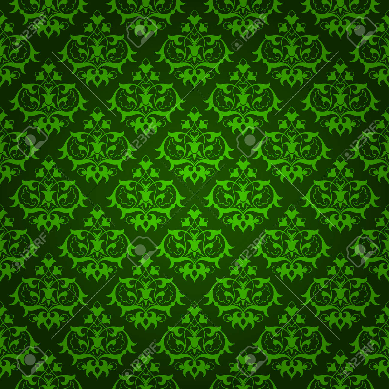 elegant green background made of floral decorative pattern stock