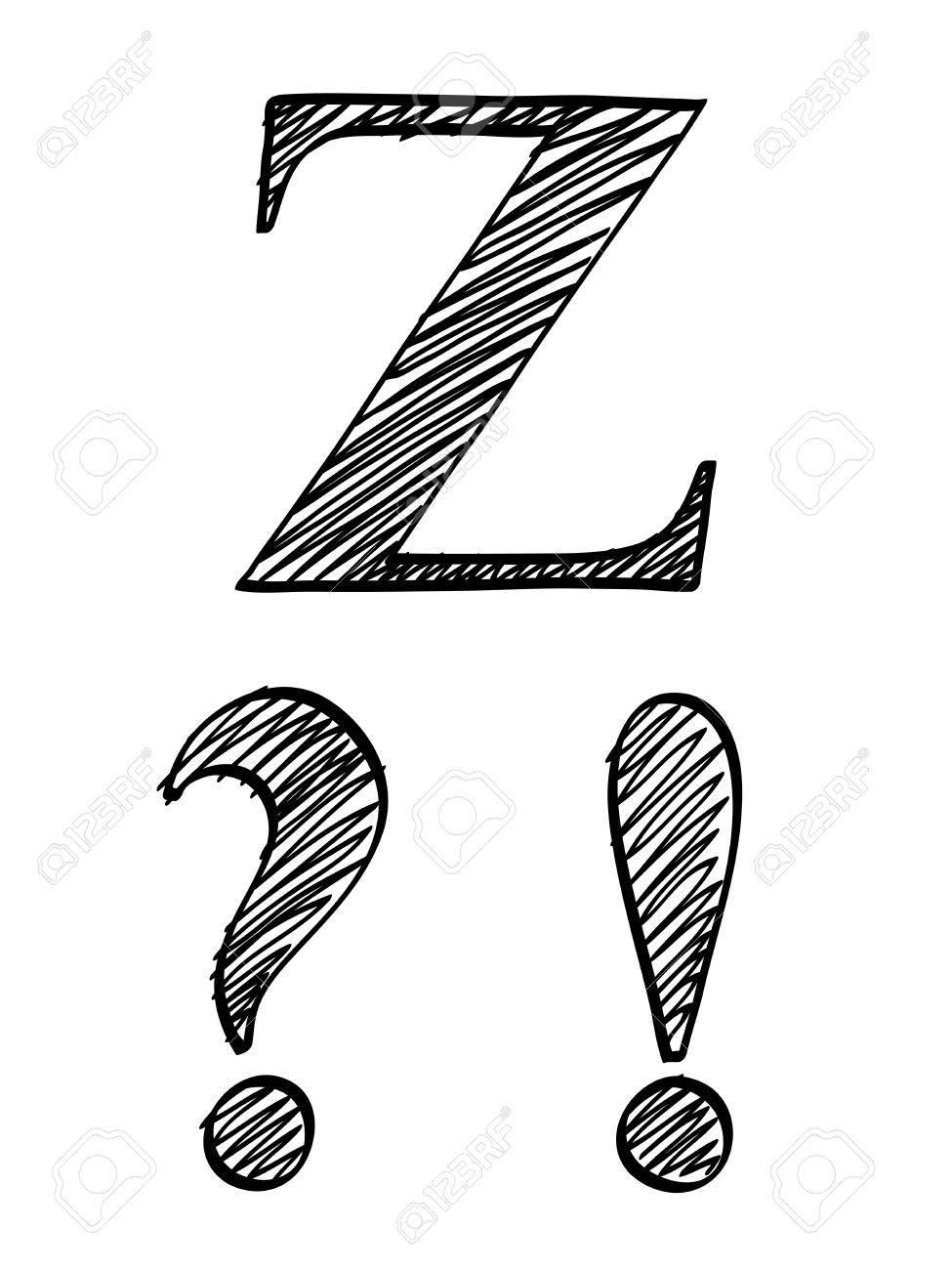 Doodle scribble sketch alphabet interrogation exclamation point doodle scribble sketch alphabet interrogation exclamation point letter z with solid outline and pen fill spiritdancerdesigns Image collections
