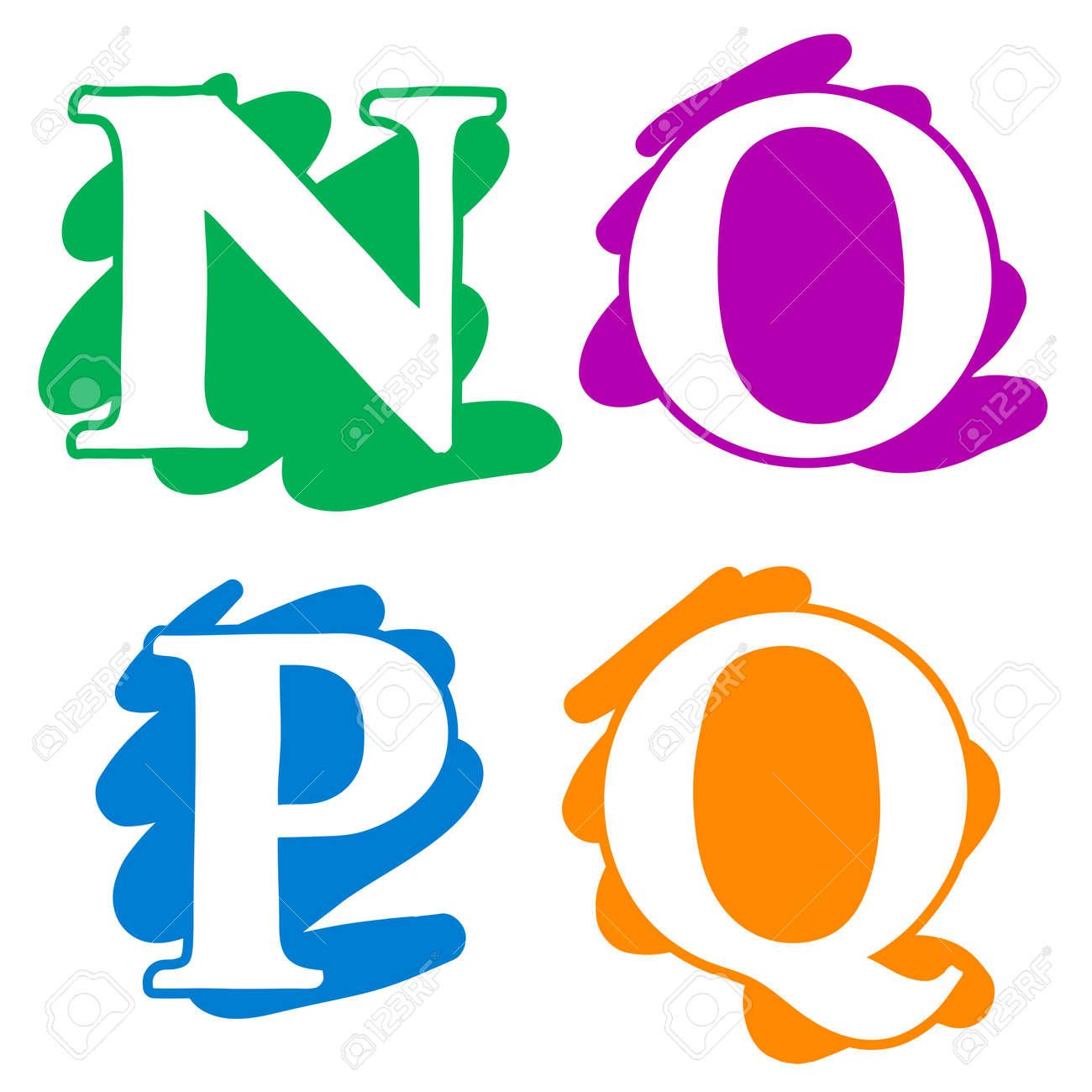 Color Garabato Splash Alfabeto Letras N, O, P, Q En Mayúsculas Con ...