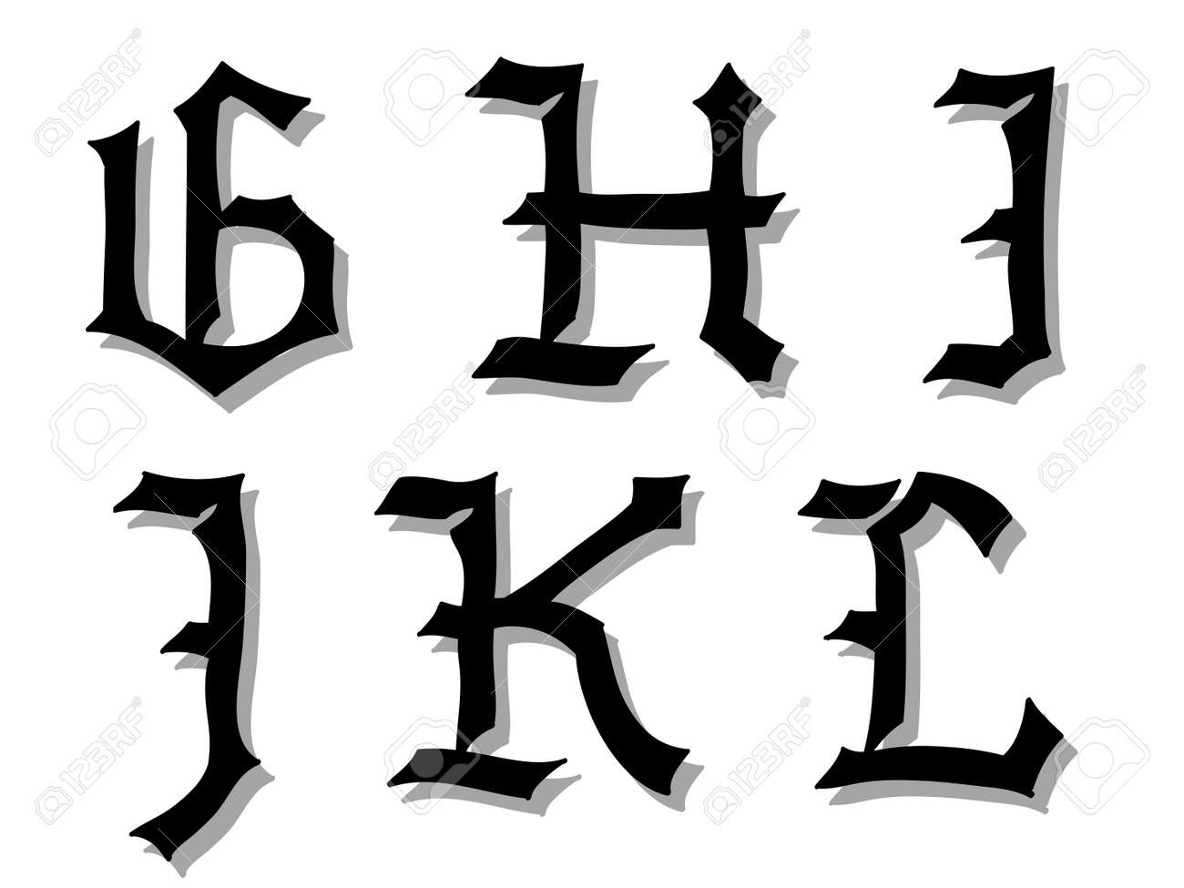 Illustration de lettres gothiques de lalphabet en majuscules illustration de lettres gothiques de lalphabet en majuscules crits en noir g thecheapjerseys Choice Image