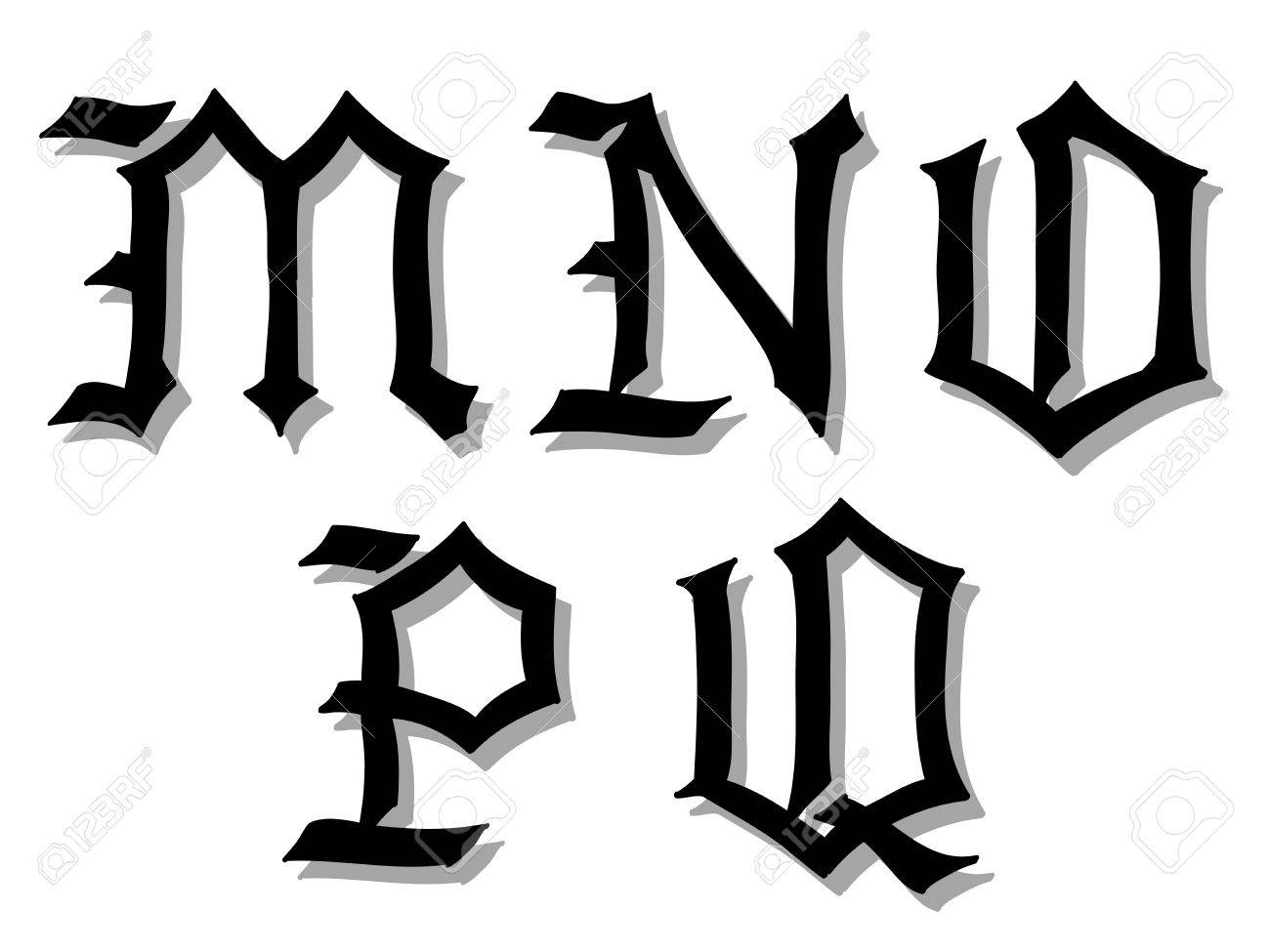 Illustration Of Gothic Alphabet Letters In Caps Written Black M N