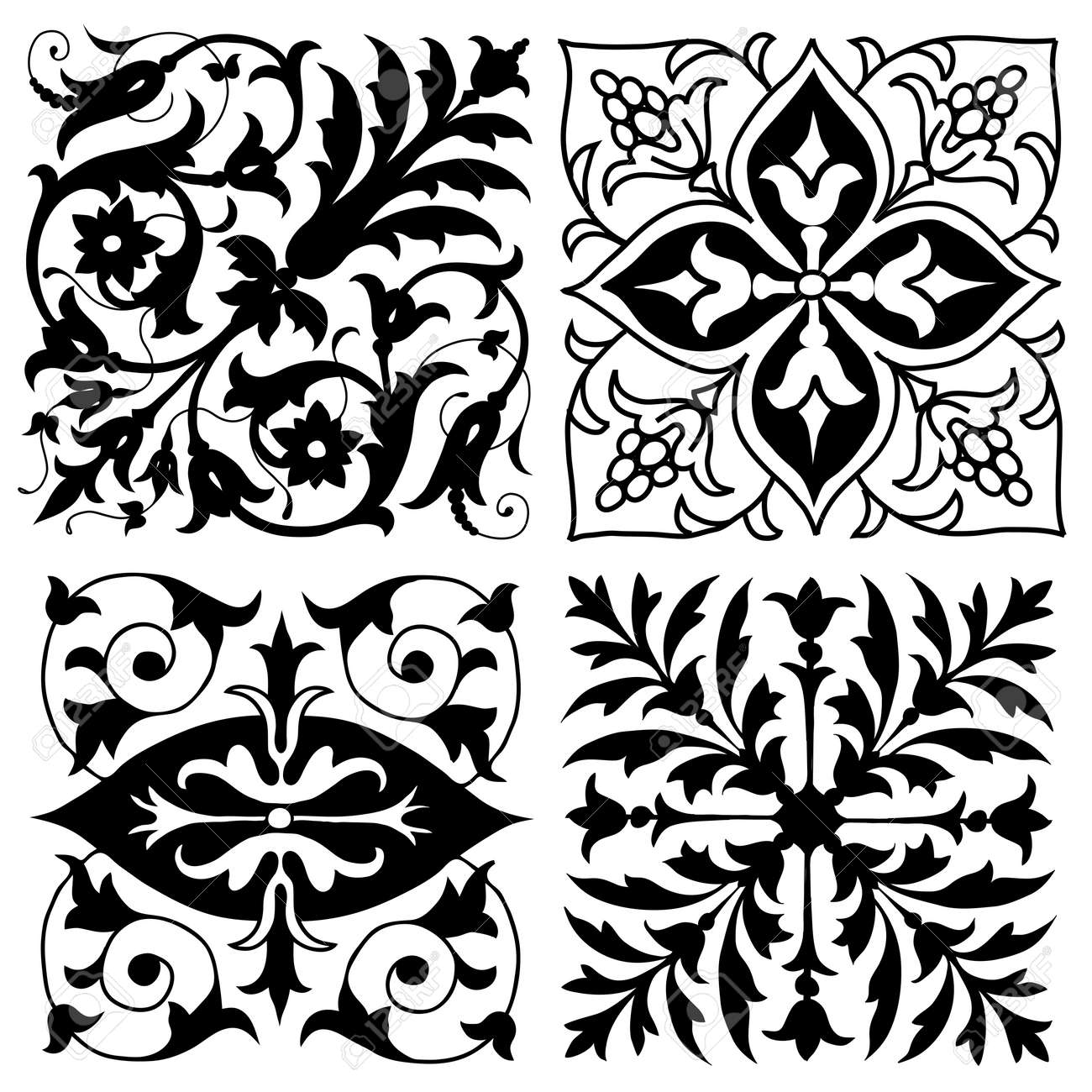 Four symmetrical vintage foliate ornament designs in square format with  floral elements isolated on white Stock