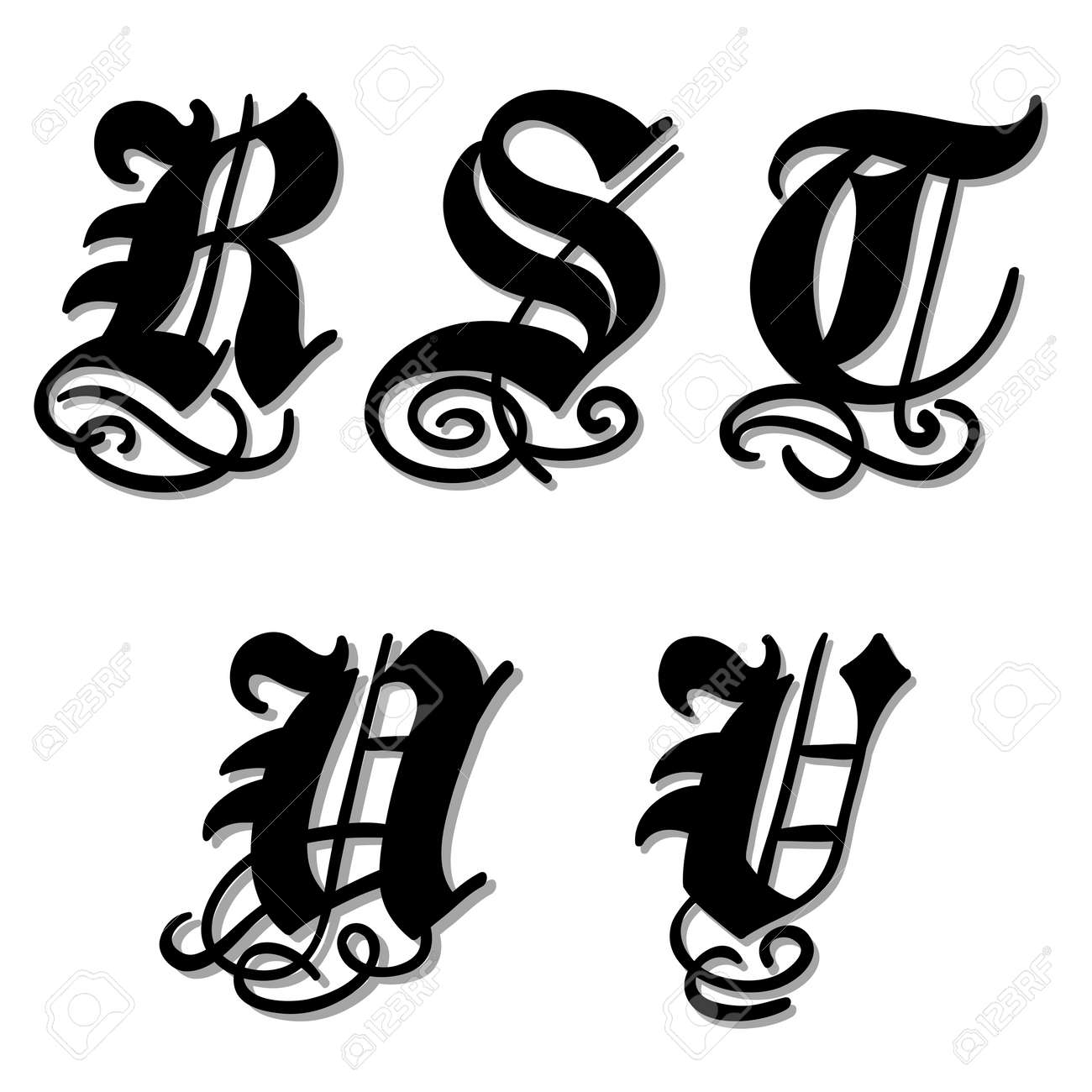Uppercase Gothic Alphabet Letters R S T U V In A Bold Black