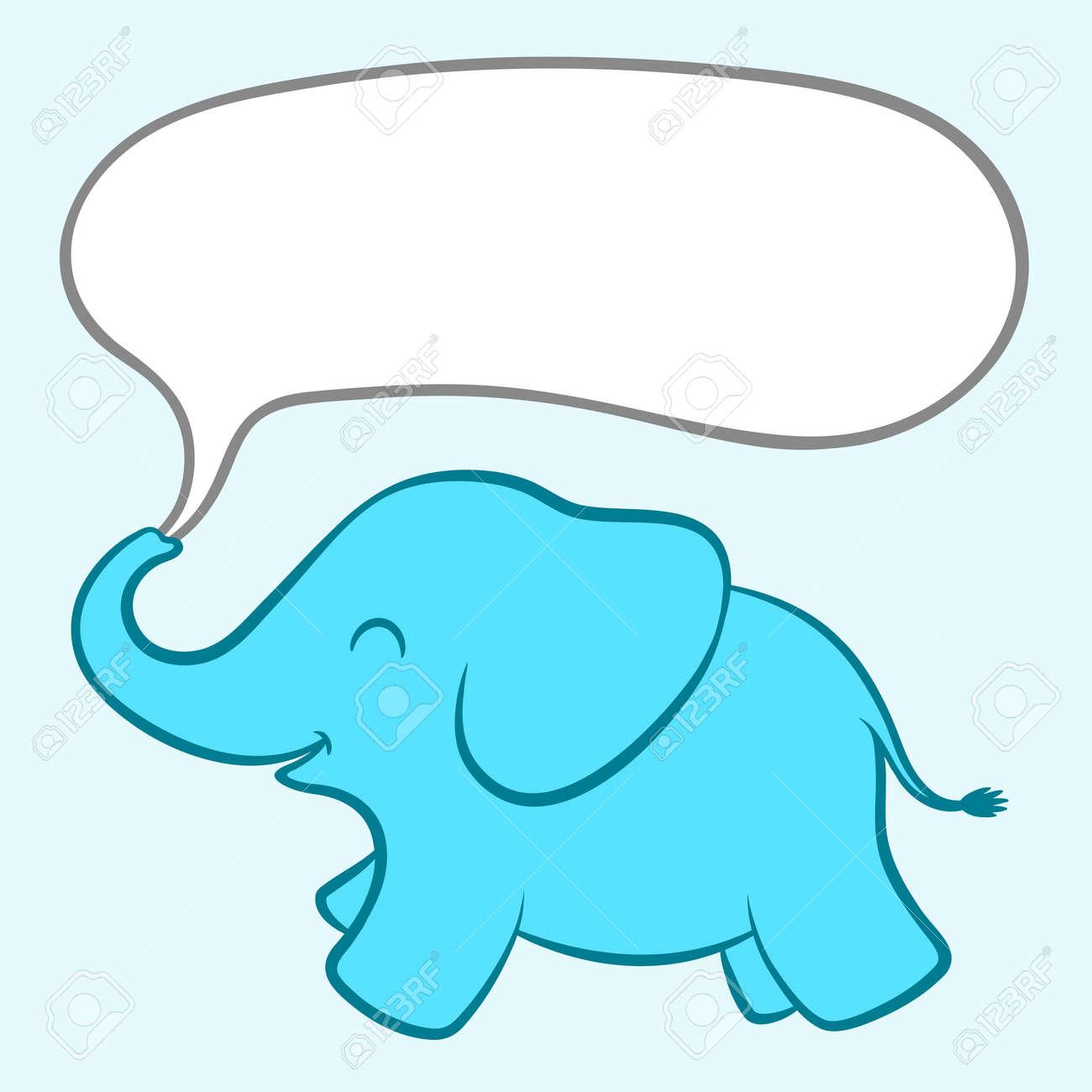 Ilustración De Dibujos Animados De Un Pequeño Bebé Elefante Azul