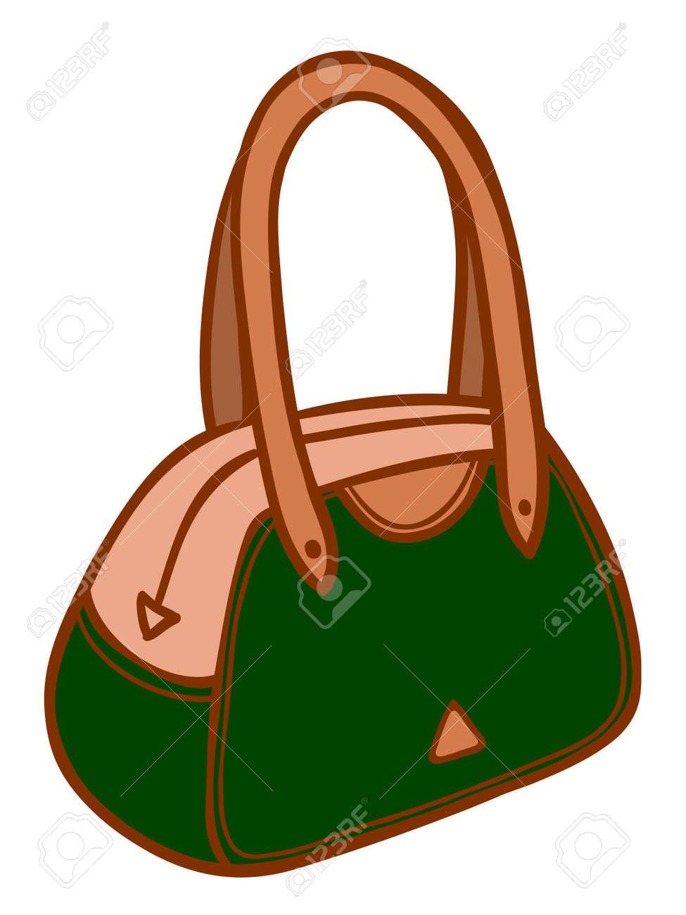 Style Sac Cuir Cartoon Illustration D'un Main Dames En À fgb6yY7