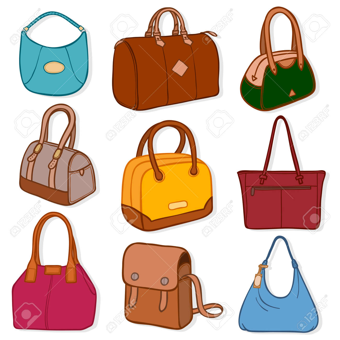 1a4117fb3057 Illustration of different kinds of latest fashion handbags and purses