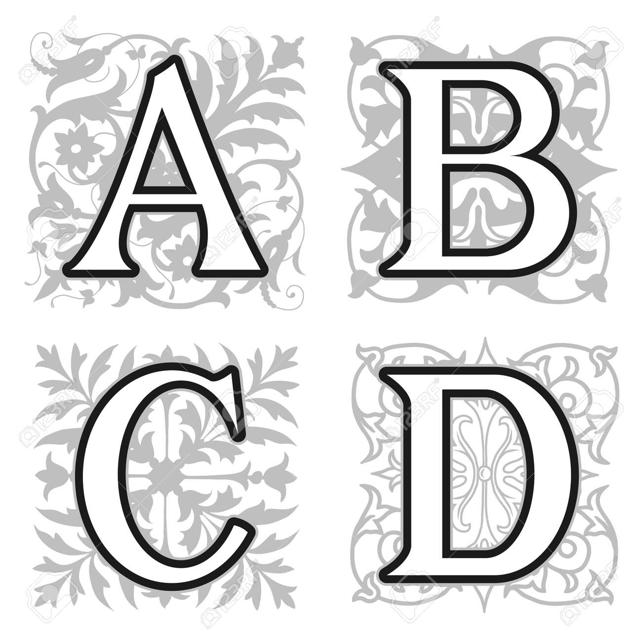 Decorative A B C D Alphabet Letters With Vintage Floral Elements In Different