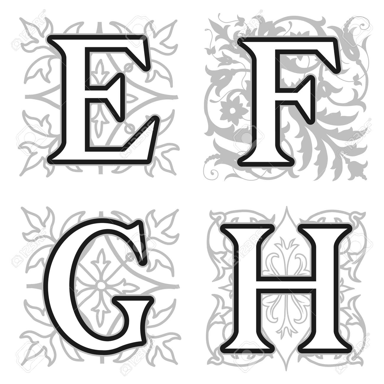 Decorative e f g h alphabet letters with vintage floral elements decorative e f g h alphabet letters with vintage floral elements in different altavistaventures Choice Image