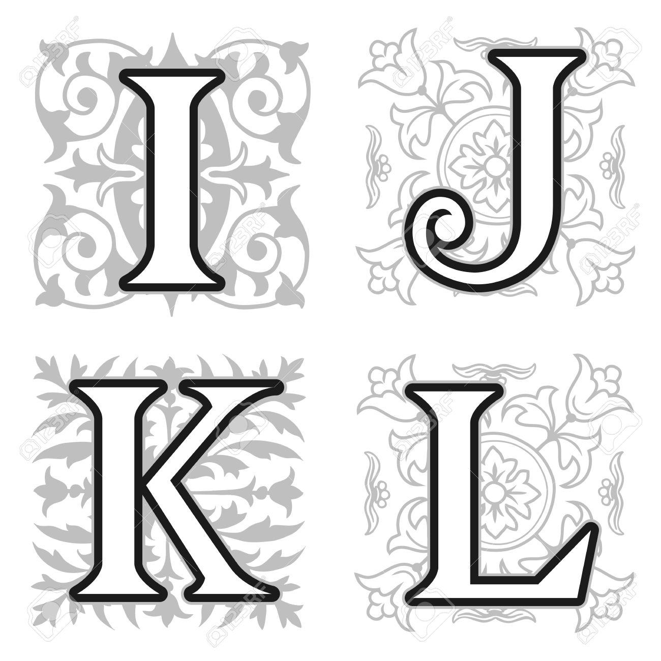 Decorative I J K L Alphabet Letters With Vintage Floral Elements In Different