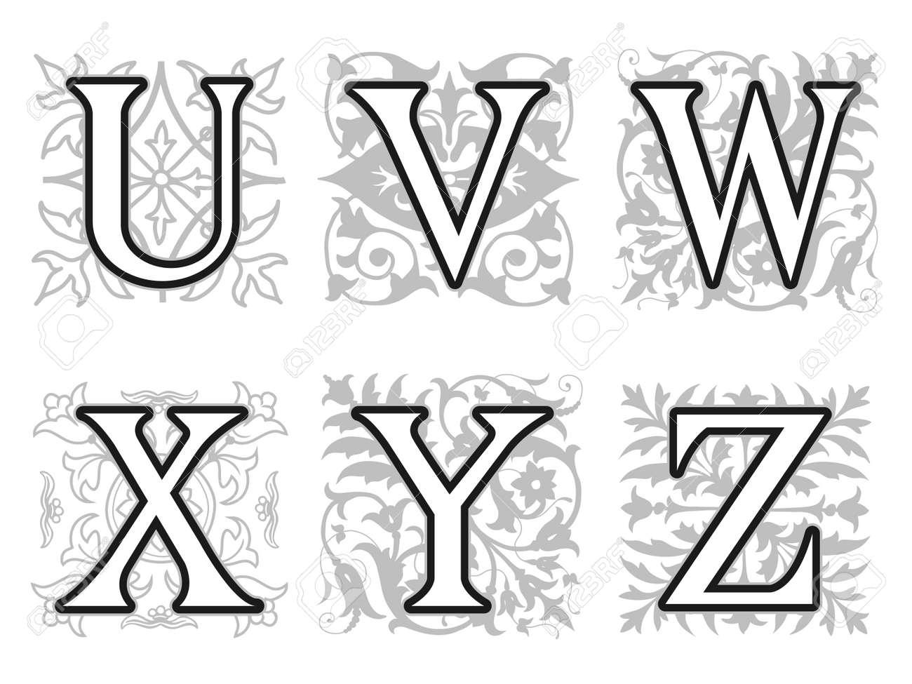 Decorative U V W X Y Z Alphabet Letters With Vintage