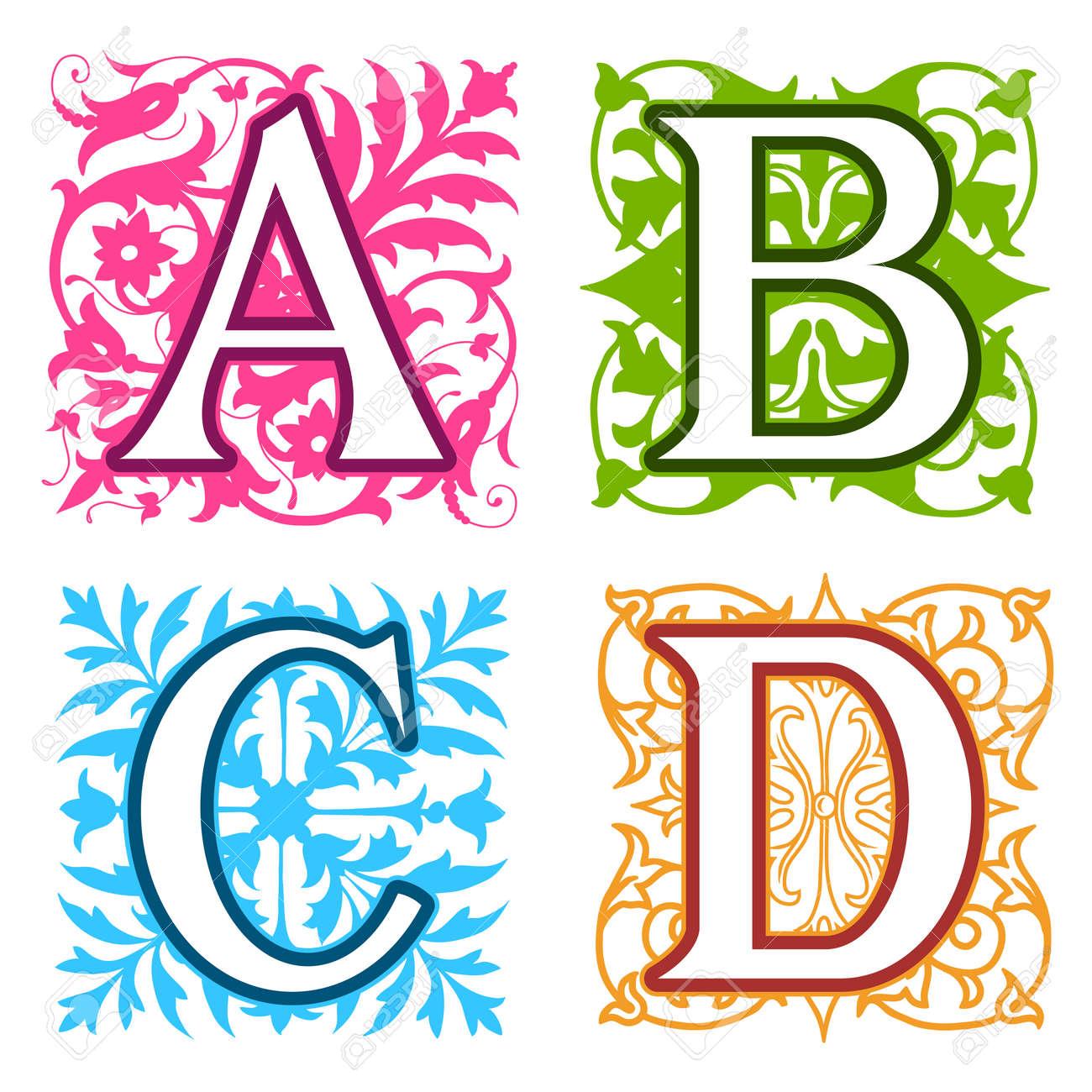 Decorative A B C D Alphabet Letters With Vintage Floral Elements In