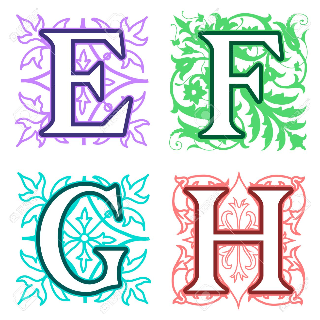 Decorative E F G H Alphabet Letters With Vintage Floral Elements In