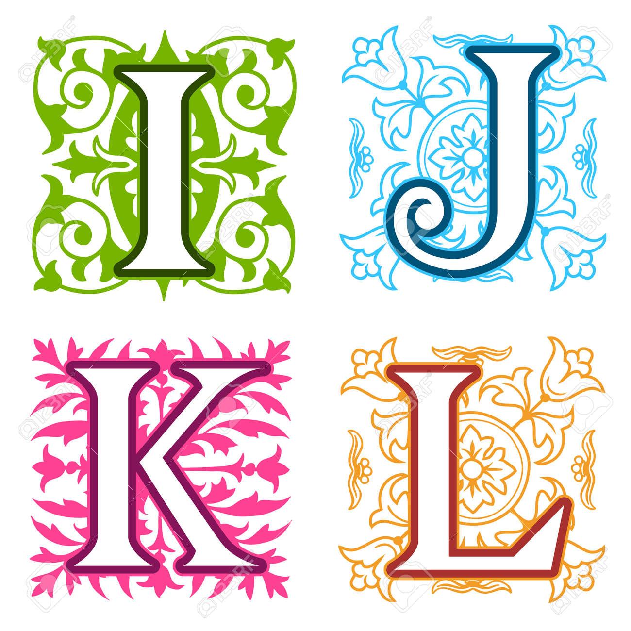 Decorative I J K L Alphabet Letters With Vintage Floral Elements