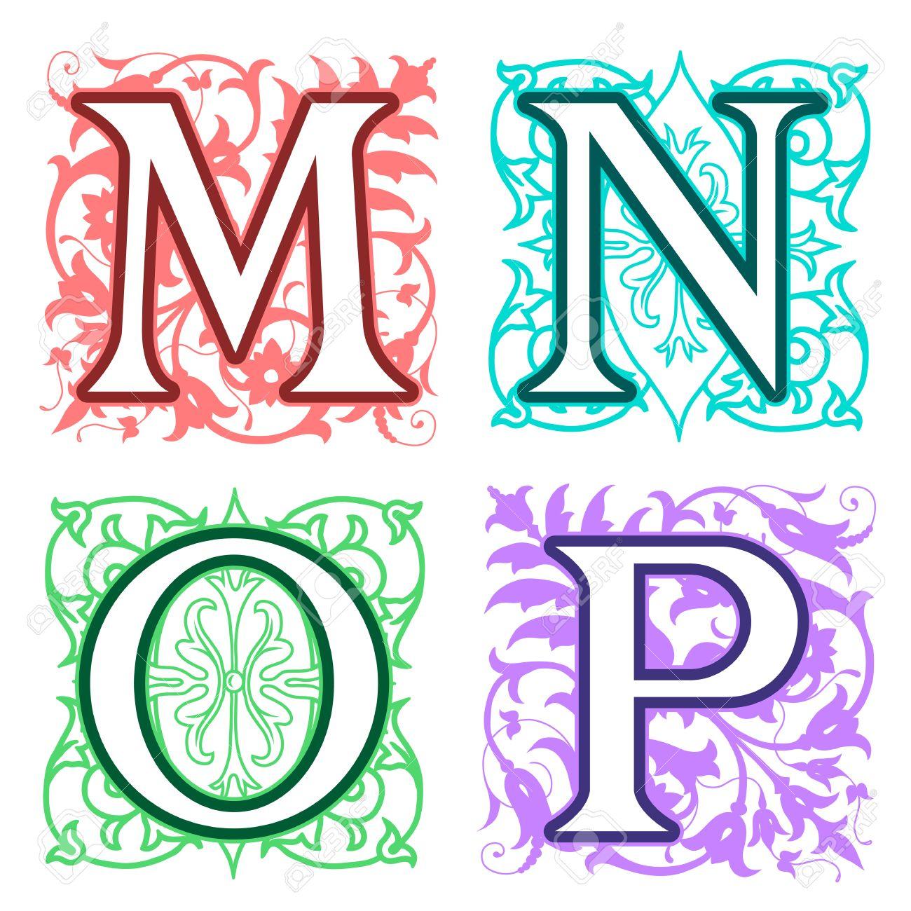Decorative M N O P Alphabet Letters With Vintage Floral Elements