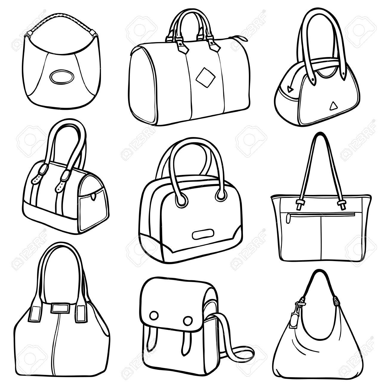 35fdd9114e5c62 LCollection neun Umrisse Damen Handtaschen in verschiedenen Stilen und  Designs