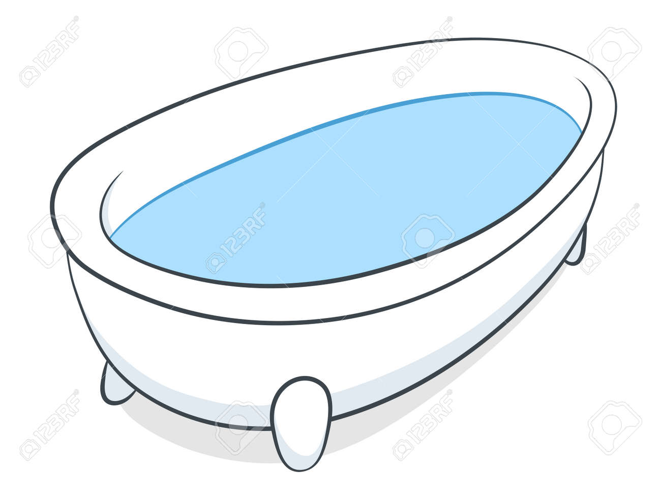 Vector Illustration Of A Freestanding White Bathtub On Little ...