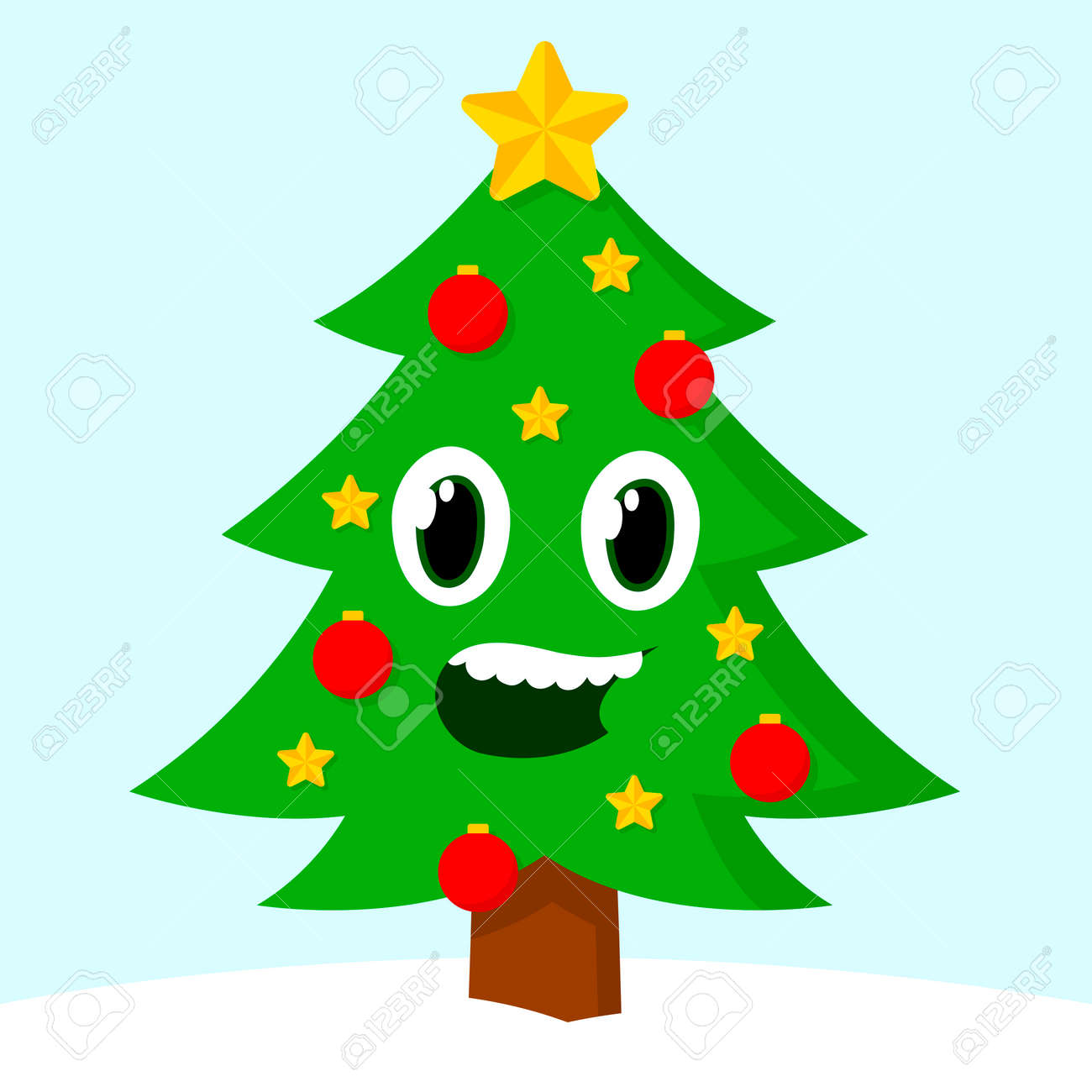 Happy Smiling Cartoon Christmas Tree On A Snowy Hill With Baubles