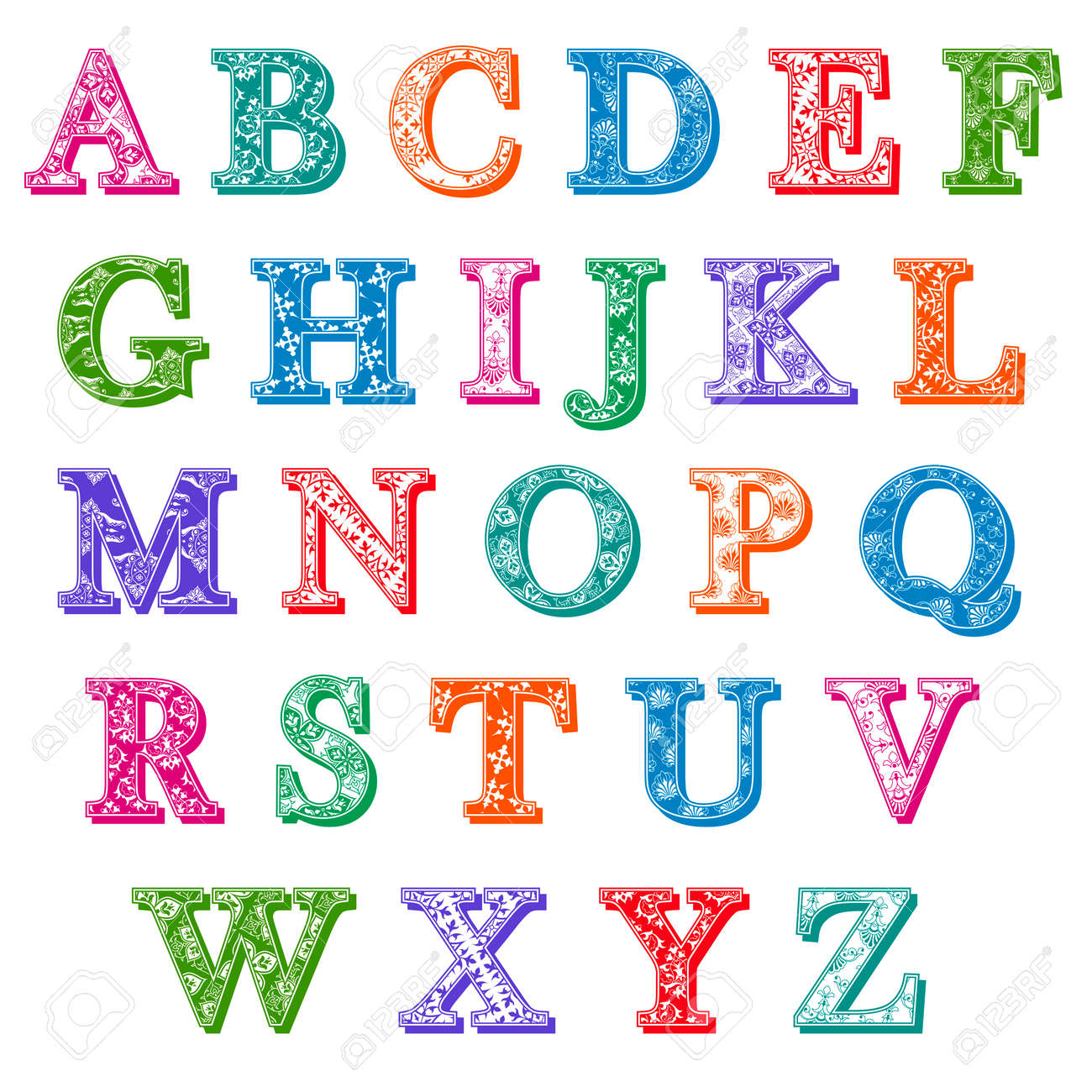 Complete Set Of Colorful Antiqua Uppercase Alphabet Letters With Floral Patterns And Drop Shadows In The